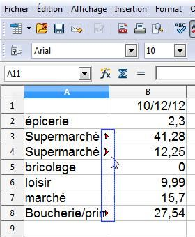 Libre Office feuille de calcul simple 1