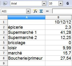 Libre Office feuille de calcul simple 4