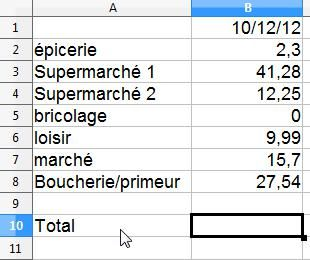 Libre Office feuille de calcul simple 5