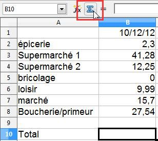 Libre Office feuille de calcul simple 6