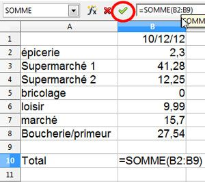 Libre Office feuille de calcul simple 8