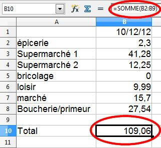 Libre Office feuille de calcul simple 9